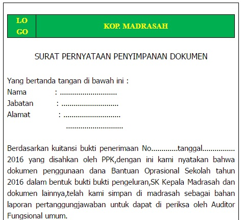 Arsip Bos Tahun 2016 Contoh Format Surat Pernyataan Penyimpanan Dokumen