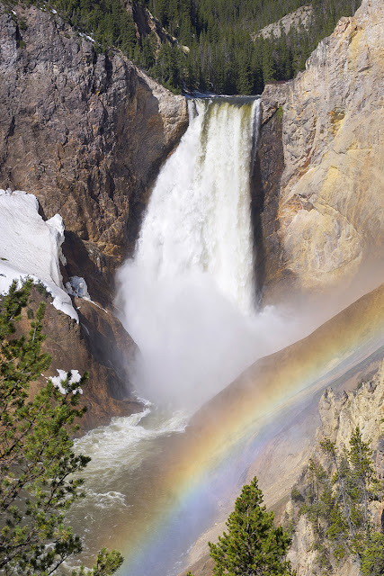 lower falls from Yellowstone National Park with rainbow photography