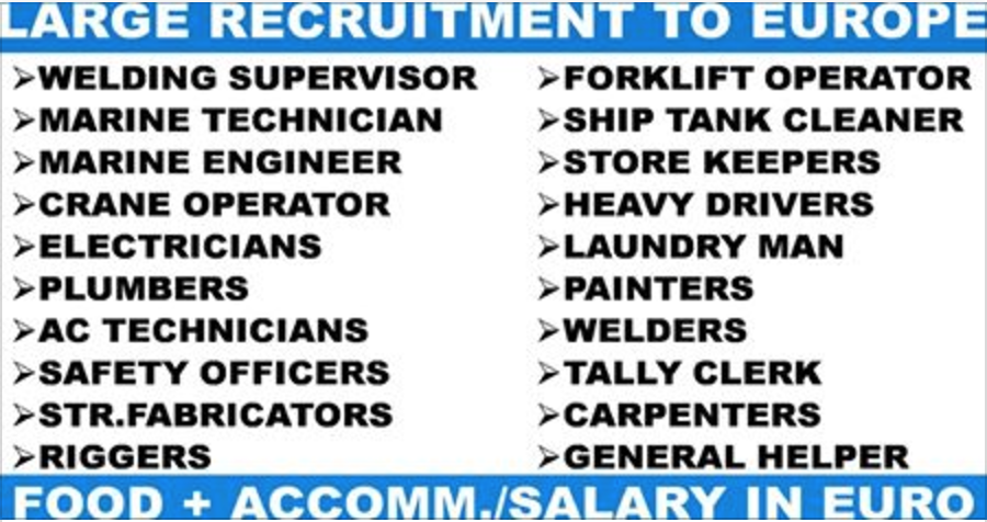 EUROPE: LARGE RECRUITMENT FOR SHIP YARD | APPLY NOW | All