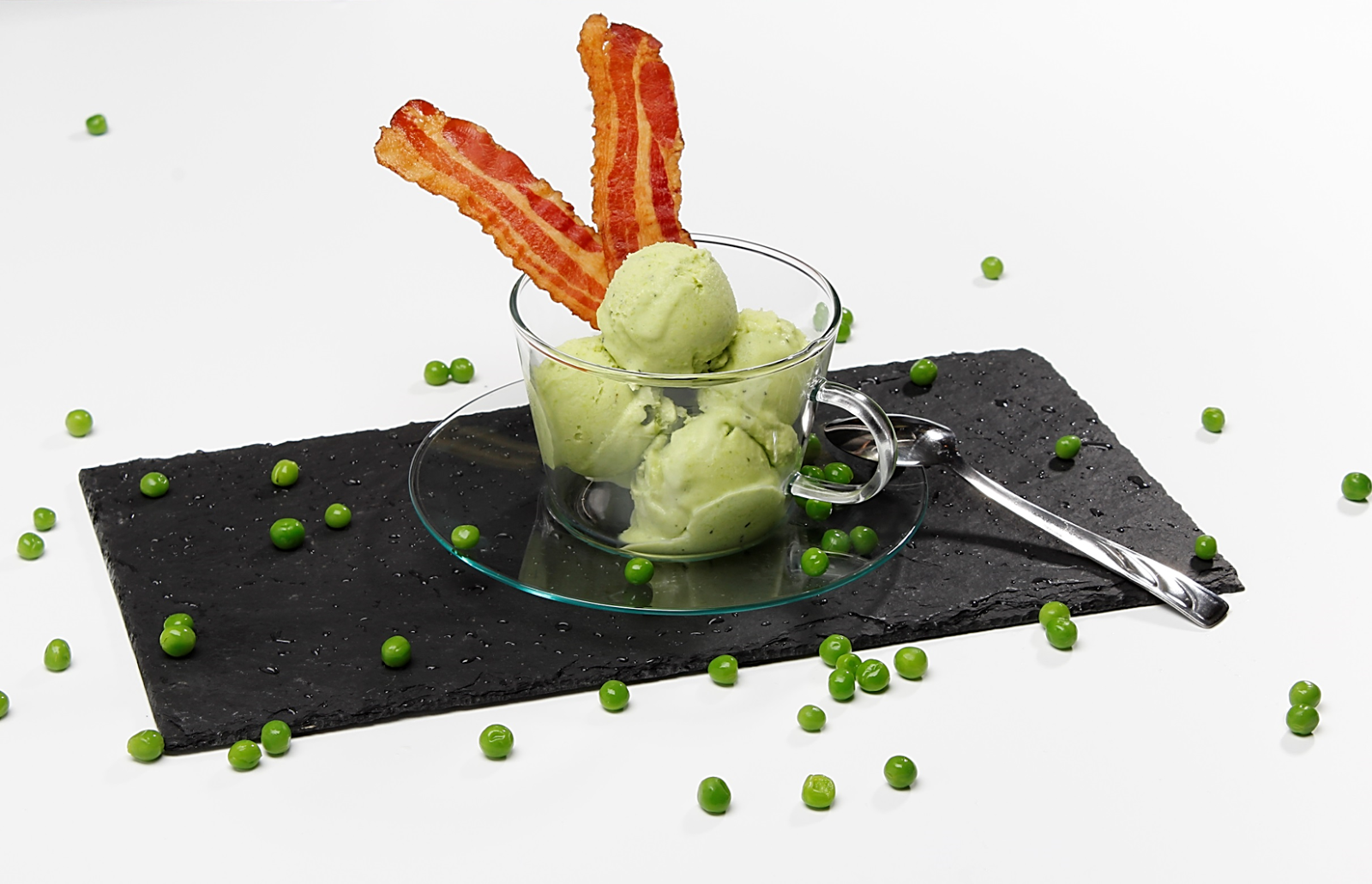 Pea Ice Cream With Bacon Wafers: