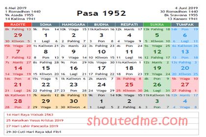 Kalender Jawa Mei 2019 Dilengkapi Weton dan Wuku