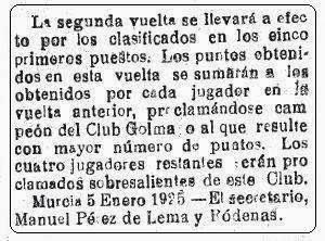 Sobre el Club Ajedrecístico Golmayo, El Liberal, 10 de enero de 1925 (1)
