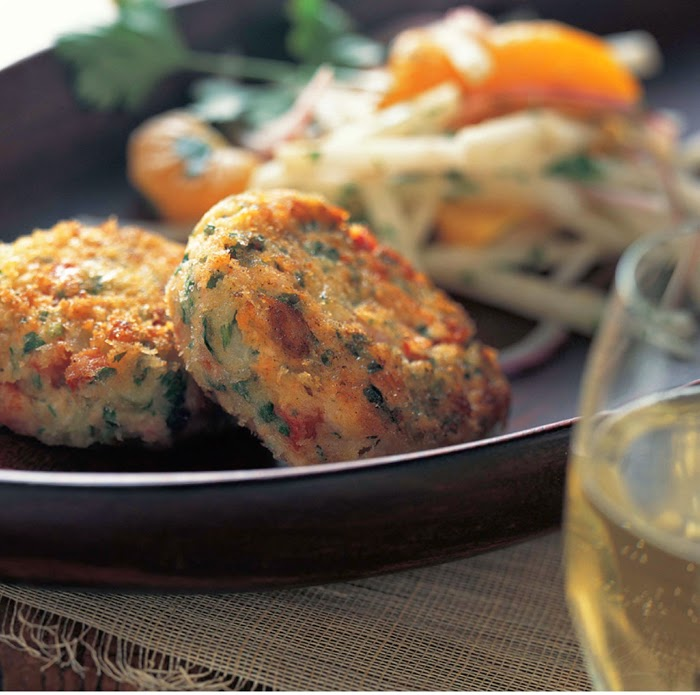 Salmon Cakes with Satsuma, Red Onion, and Jicama Slaw
