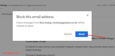 Memblokir alamat email akun gmail orang lain