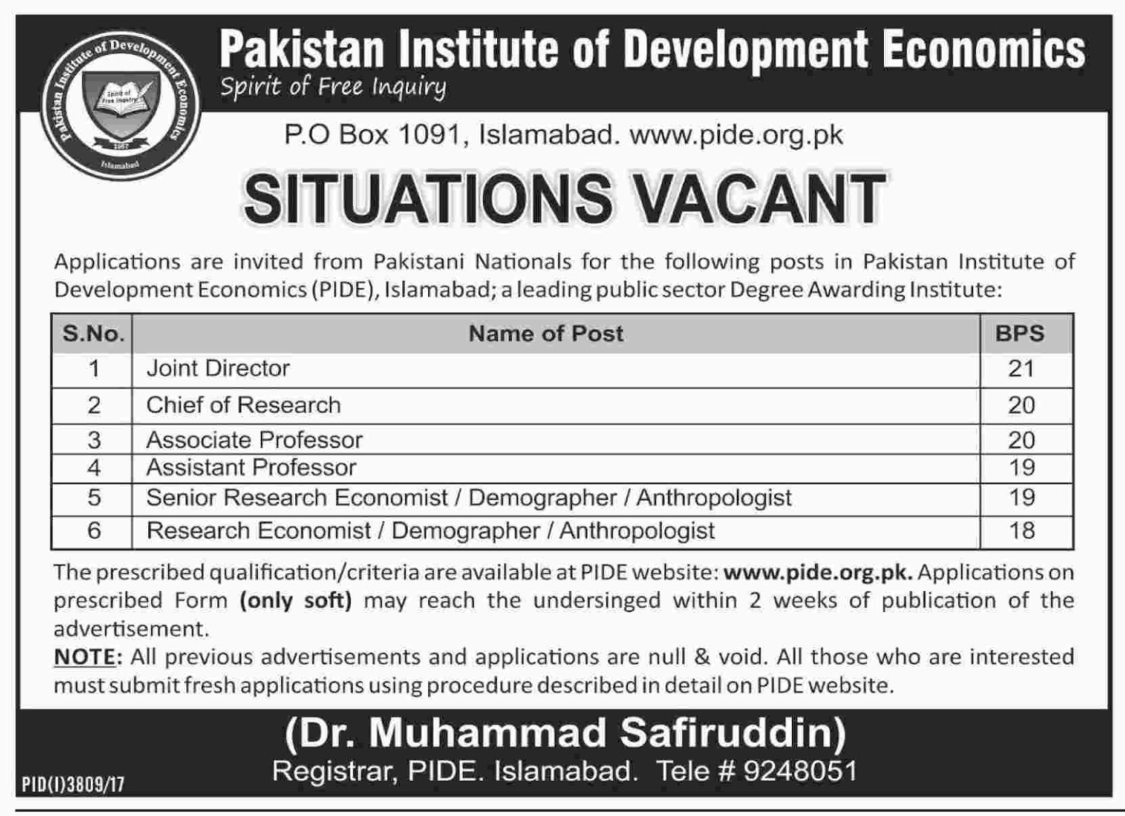 Jobs In Pakistan Institute of Development Economics Abbottabad 2018
