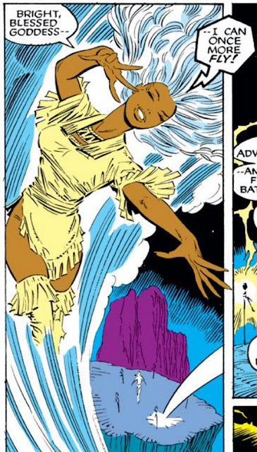 Storm, dressed in a short fringed dress, soars through the air. Her dialogue reads, 'Bright blessed goddess--I can once more fly!'