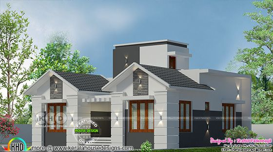 1030 square feet 2 bedroom attached house plan