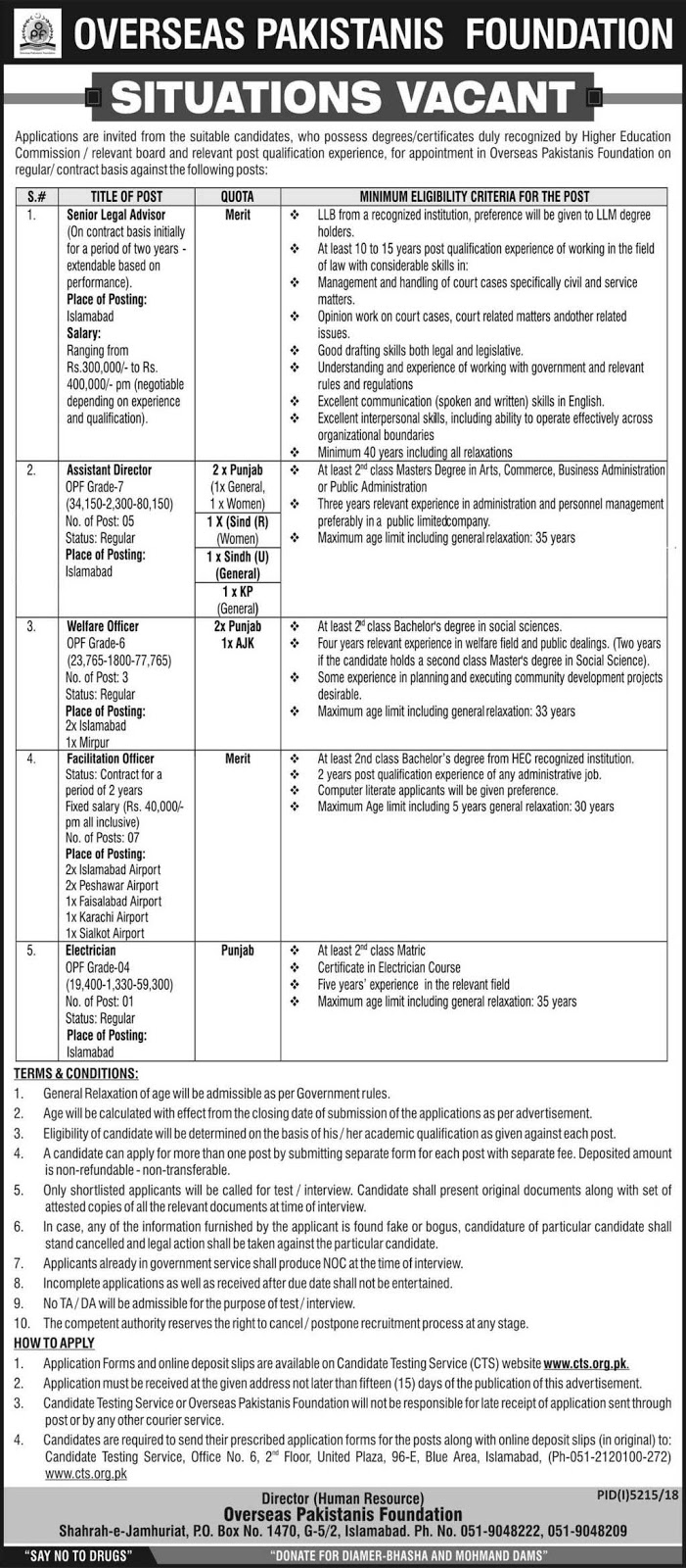 Overseas Pakistanis Foundation Latest Jobs May 2019
