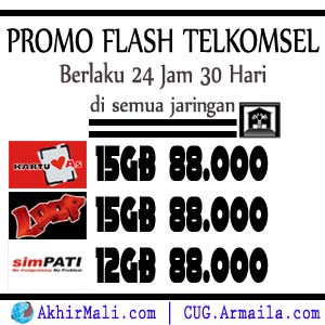 Paket Promo Flash Telkomsel 15GB dan 12GB AS Loop Simpati