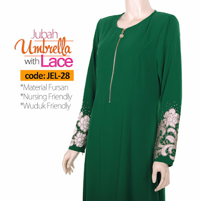 Jubah Umbrella Lace JEL-28 Green Depan 9