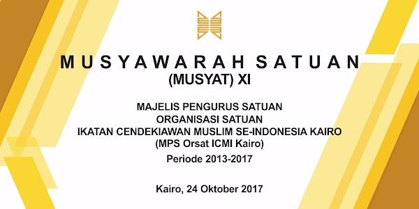 Besok, 24 Oktober 2017 Orsat ICMI Kairo Akan Mengadakan Musyawarah Satuan (Musyat) XI