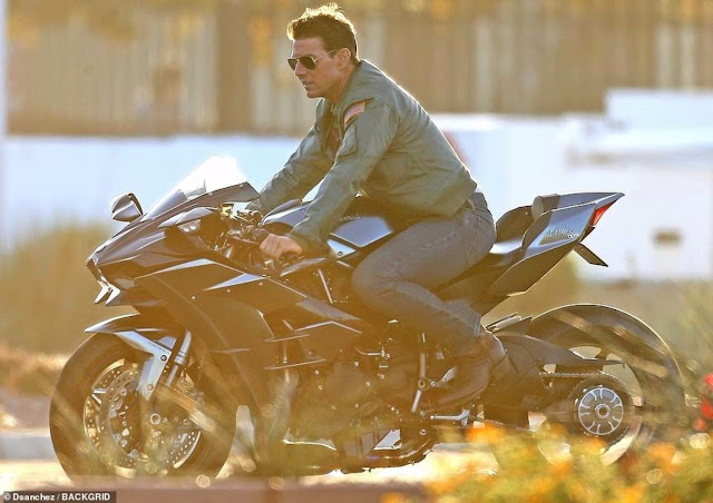 Tom Cruise reprises his role of Maverick aboard a supercharged Kawasaki Ninja H2 in the sequel to the 1986 blockbuster Top Gun.