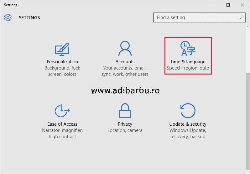 Accesarea meniului cu limbile sistemului în Windows 10