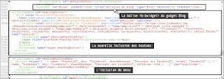 Ajouter la nouvelle inclusion dans le code XML du gadget Blog.