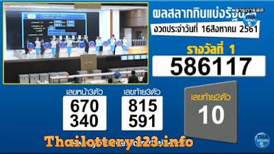Thai Lottery 16 August 2018 Live Result in English Online Update