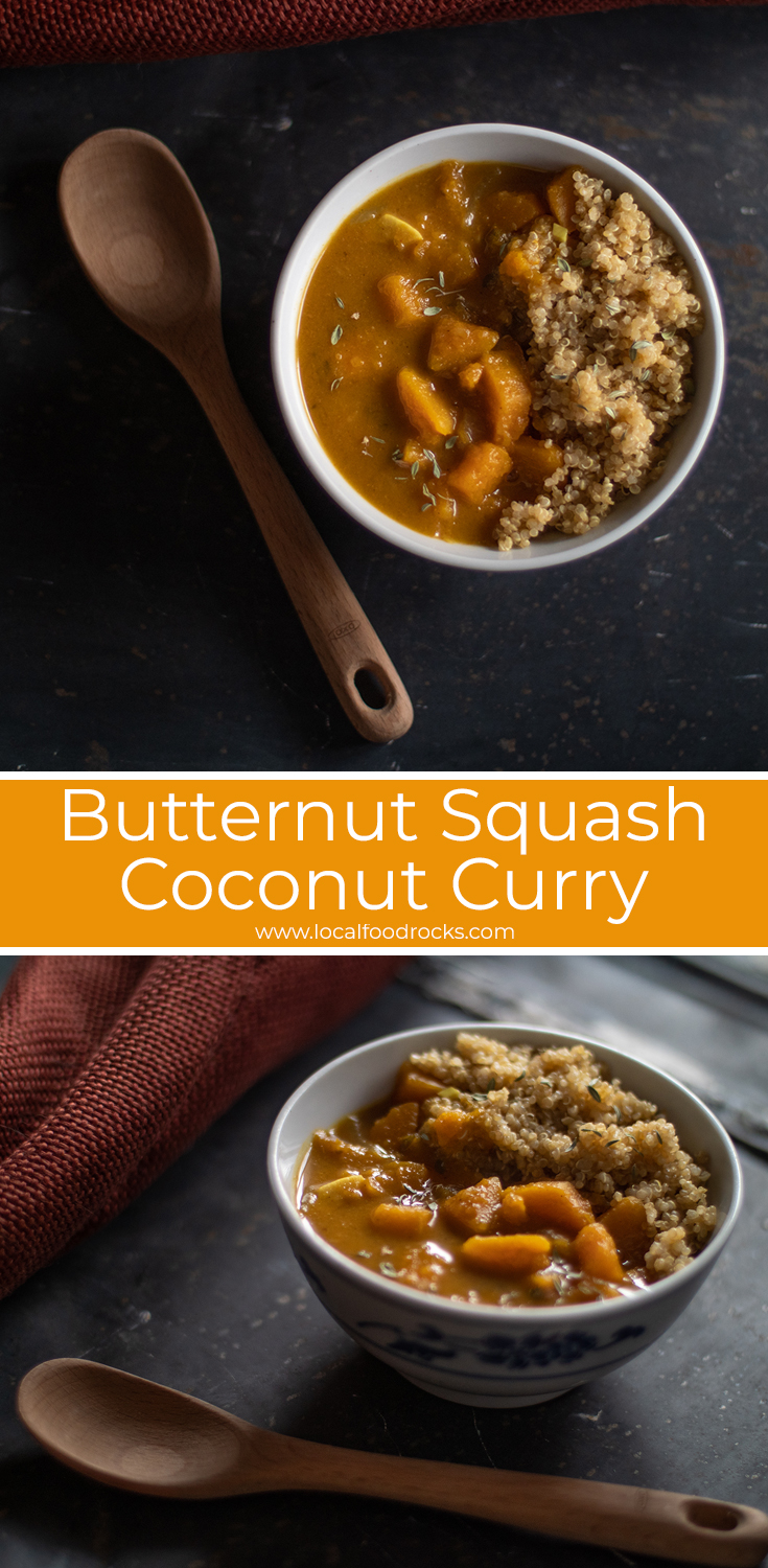This recipe marries a butternut squash into a creamy, vegan coconut curry perfect for fireside dinners on a cold winter weather evening. | Local Food Rocks