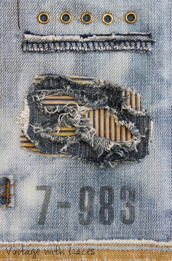 Upcycled Denim Art Quilt 'No More Leftovers' by Vintage with Laces