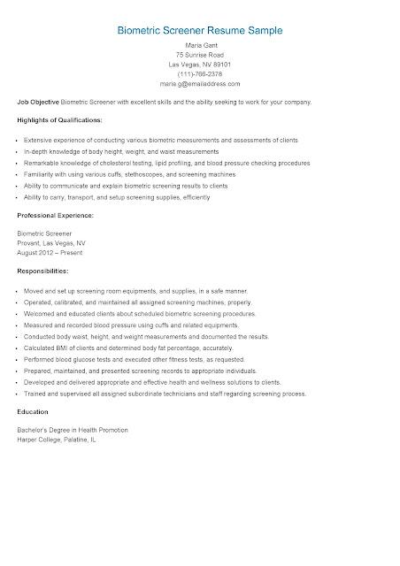 biometric screener resume sample resume samples
