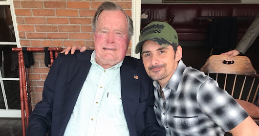 Brad Paisley in Houston with President Bush 41..at Lunch near Galleria