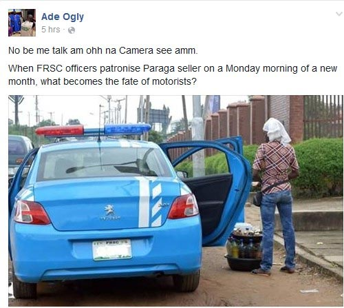See what FRSC officers were caught buying in Lagos today
