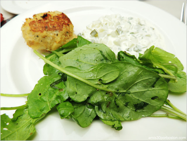 New England Salt Cod Cake with Arugula and Tartar Sauce