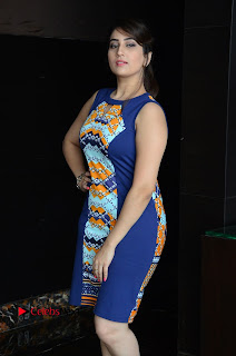 Actress Anchor Manjusha Pictures in Blue Short Dress at Jaguar Movie Success Meet .COM 0009.jpg