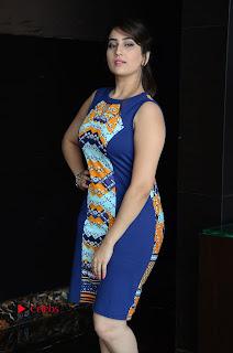 Actress Anchor Manjusha Pictures in Blue Short Dress at Jaguar Movie Success Meet .COM 0009.jpg