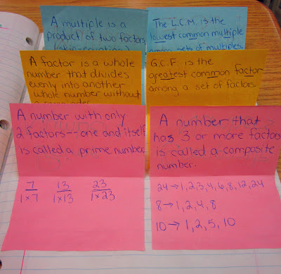 Factors and Multiples notebook entry