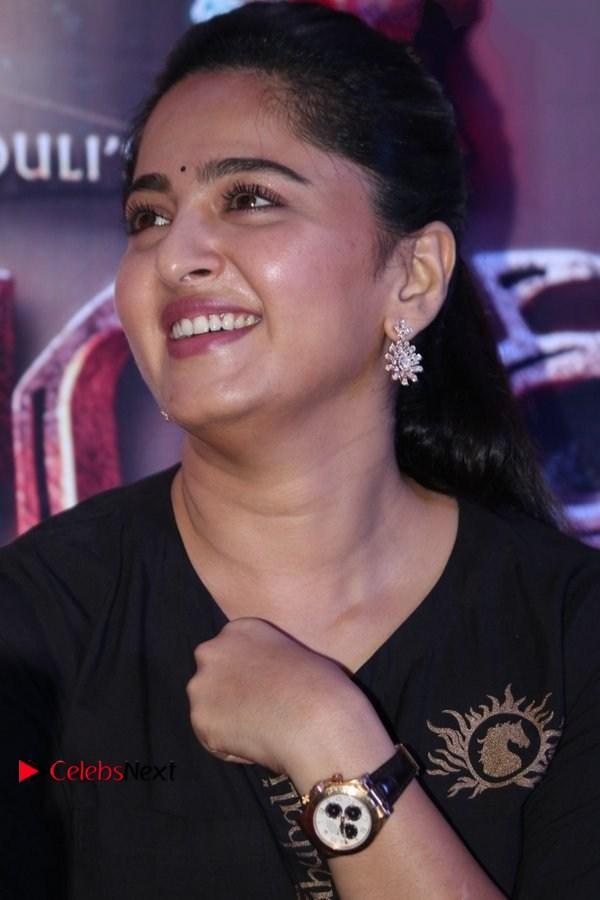 Anushka Shetty Stills in Black Gurthi at Baahubali 2 Press Meet