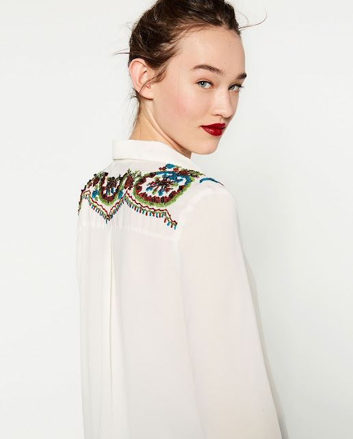 zara blouse sequin, sequin shoulder shirt,