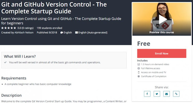 [100% Free] Git and GitHub Version Control - The Complete Startup Guide