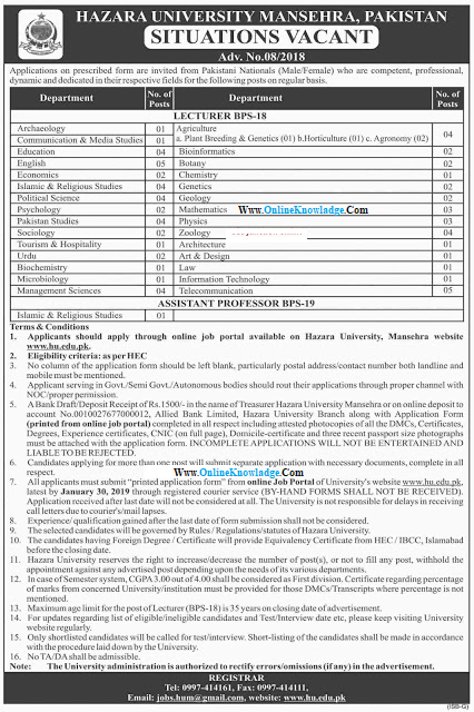 Hazara University (HU) Manshera Latest Jobs 2019 For Lecturers & Others  hazara university jobs 2019  hazara university battagram campus jobs  hazara university mansehra jobs 2019  HU job 2019  Hazara University (HU) Manshera Latest Jobs 2019