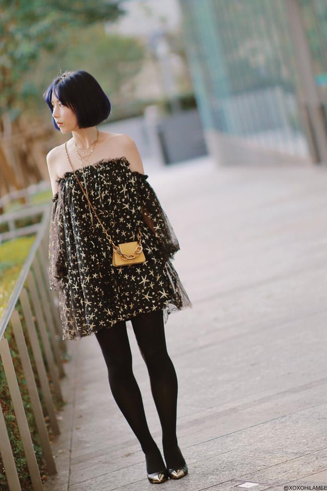 Japanese Fashion Blogger,MizuhoK,20191020OOTD, CHICWISH= star off shoulder dress, gatta=black tights, Rakuten= metal toe pumps, Charles&keith=yellow mini bag, and more,,,