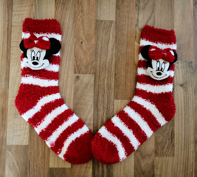 Red and white Minnie Mouse socks