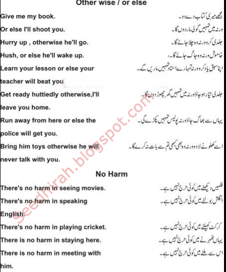 "Learn English In Urdu - ""Other Wise/OR Else,No Harm"" ka istemal sekhain"
