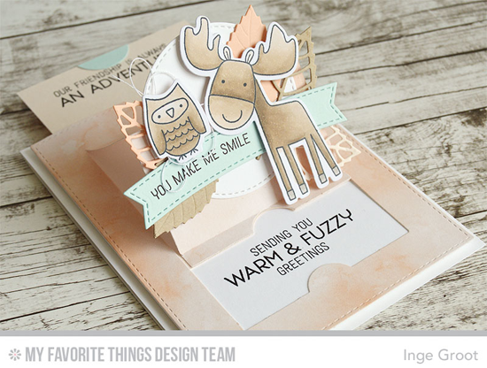 You Make Me Smile Card by Inge Groot featuring Warm & Fuzzy Friends stamp set and Die-namics, and the Royal Leaves and Blueprints 28 Die-namics #mftstamps