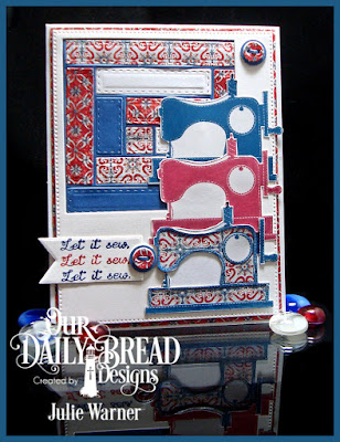 Our Daily Bread Designs Stamp Set: Time to Mend, Our Daily Bread Designs Custom Dies: Flourished Star Pattern, Log Cabin Quilt, Squares, Pennants, Matting Circles, Our Daily Bread Designs Paper Collections:Americana Quilt, Old Glory