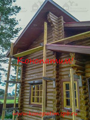 Конопатка дома ручной рубки в Ольховке от Конопатим!