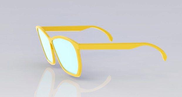 gafas modeladas con solidworks vistas desde un lateral
