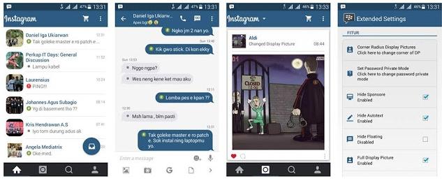 Fitur bawaan dari BBM Mod Instagram ini secara garis besar tetap sama dengan BBM Mod lainnya yang memiliki seri sama. Tetapi hanya memiliki perbedaan pada tampilannya saja. Yang kita bagikan kali ini merupakan kumpulan dari versi paling lama hingga versi terbaru yang pernah beredar untuk BBM Mog Instagram ini, - BBM29.51_new_Instagram2, - BBM29.51_new_Instagram2_Clone, - BBM Mod Instagram Flat 2.13.1.14 by Erwin Tommy, - BBM Instagram 2.13.1.14 By Richie Evan II, - BBM Instagram 2.12.0.11 by Fendy Manx,