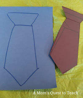 Drawing of necktie on inside of Children's Card
