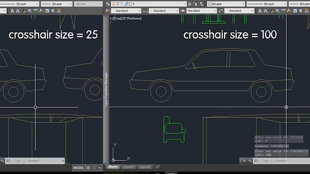 Mengubah ukuran crosshair AutoCAD