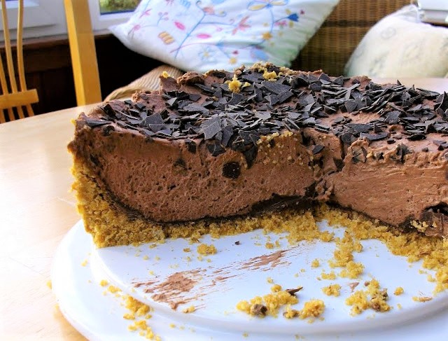 sliced deep chocolate cheesecake