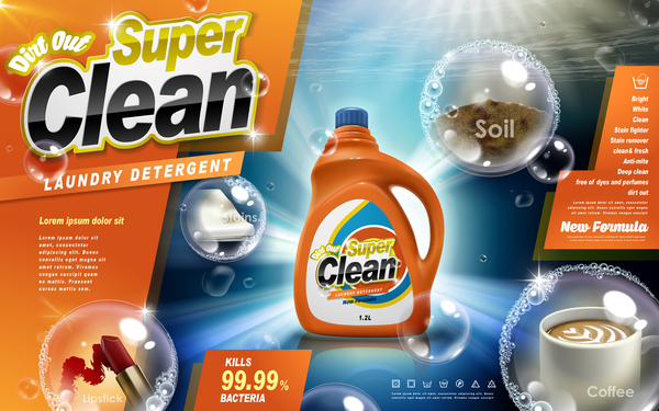 Laundry liquid ads poster template free vector