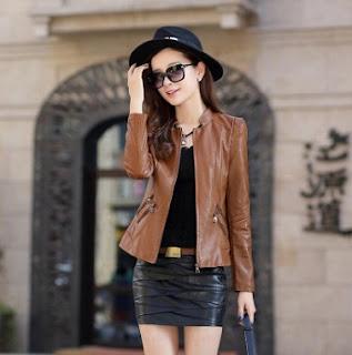 Gambar Model Jaket Kulit Imitasi Wanita Modern