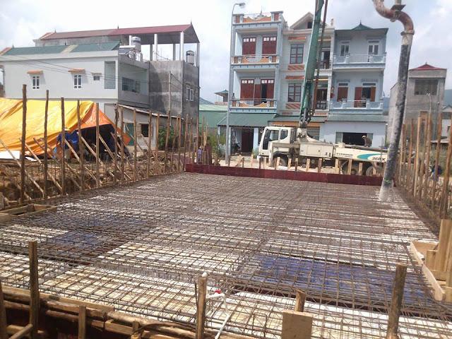 Chuẩn bị đổ beton Móng Bè