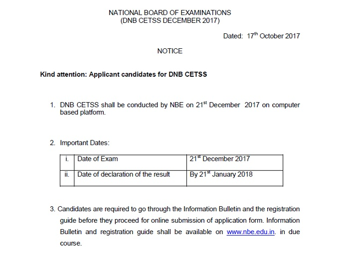 DNB CET Superspeciality Dec 2017 dates announced