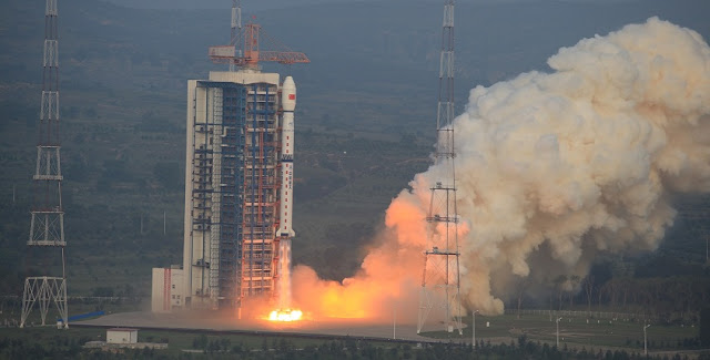 A Long March 4C rocket carrying the Gaofen-3 satellite blasts off from the Taiyuan Satellite Launch Center on Aug. 9. Photo Credit: Xinhua/Zhang Hongwei