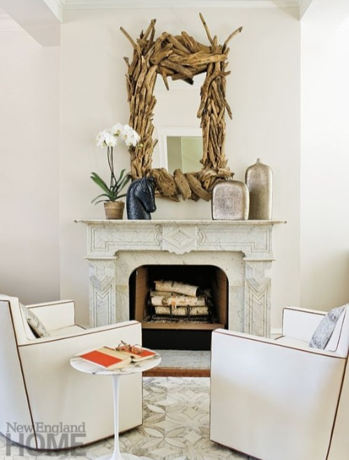 Chunky Driftwood Mirror above Fireplace