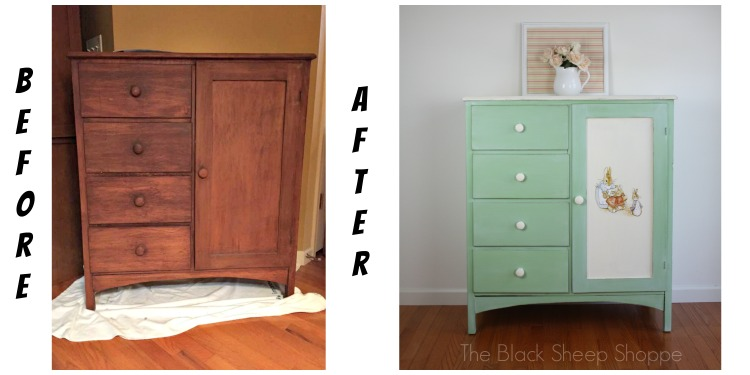 Child's chifferobe before and after.